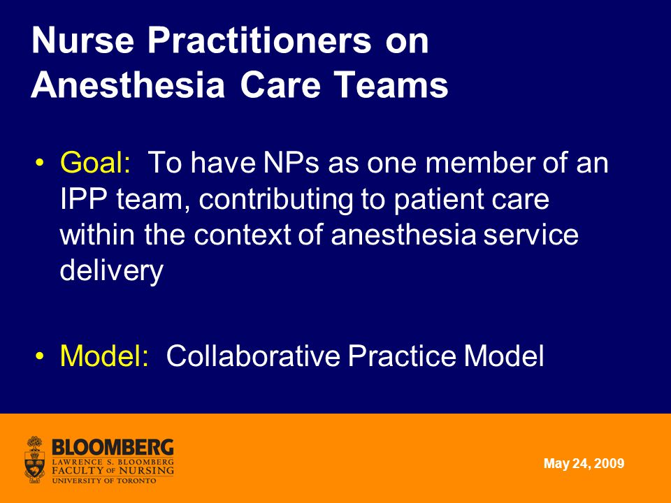 May 24, 2009 Goal: To have NPs as one member of an IPP team, contributing to patient care within the context of anesthesia service delivery Model: Col