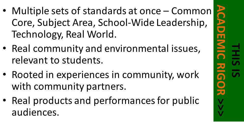 Multiple sets of standards at once – Common Core, Subject Area, School-Wide Leadership, Technology, Real World. Real community and environmental issue