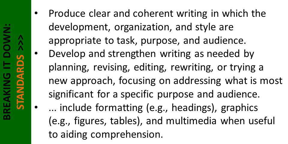 BREAKING IT DOWN: STANDARDS >>> Produce clear and coherent writing in which the development, organization, and style are appropriate to task, purpose,