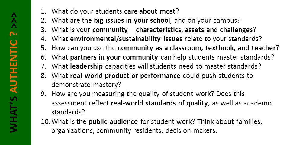 WHAT'S AUTHENTIC ? >>> 1.What do your students care about most? 2.What are the big issues in your school, and on your campus? 3.What is your community