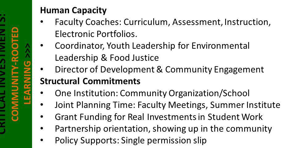 CRITICAL INVESTMENTS: COMMUNITY-ROOTED LEARNING >>> Human Capacity Faculty Coaches: Curriculum, Assessment, Instruction, Electronic Portfolios. Coordi