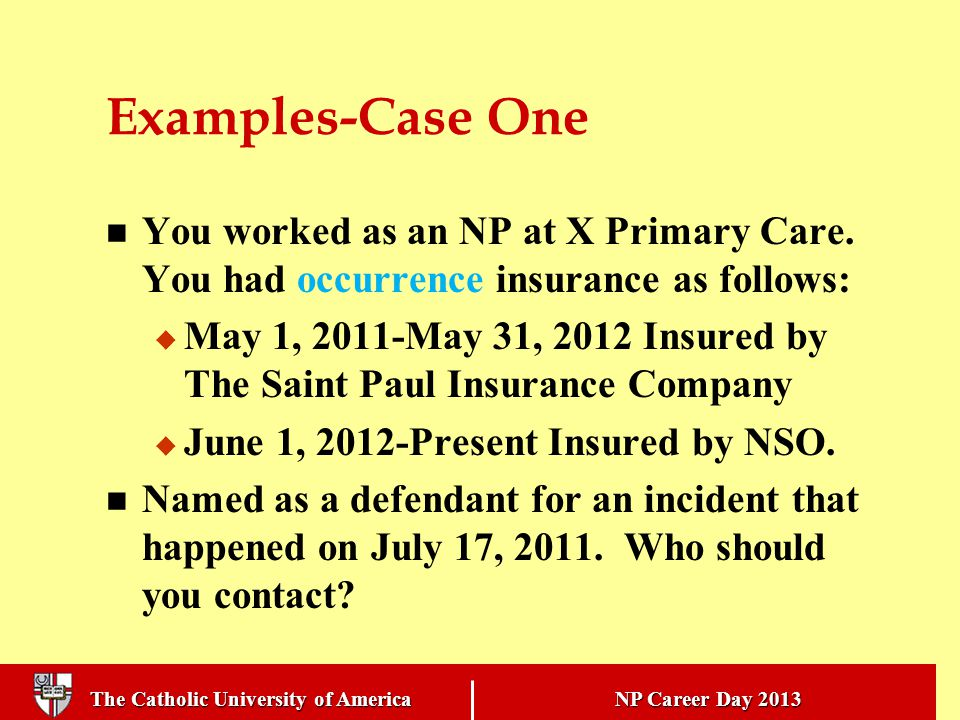 The Catholic University of America NP Career Day 2013 Examples-Case One You worked as an NP at X Primary Care.