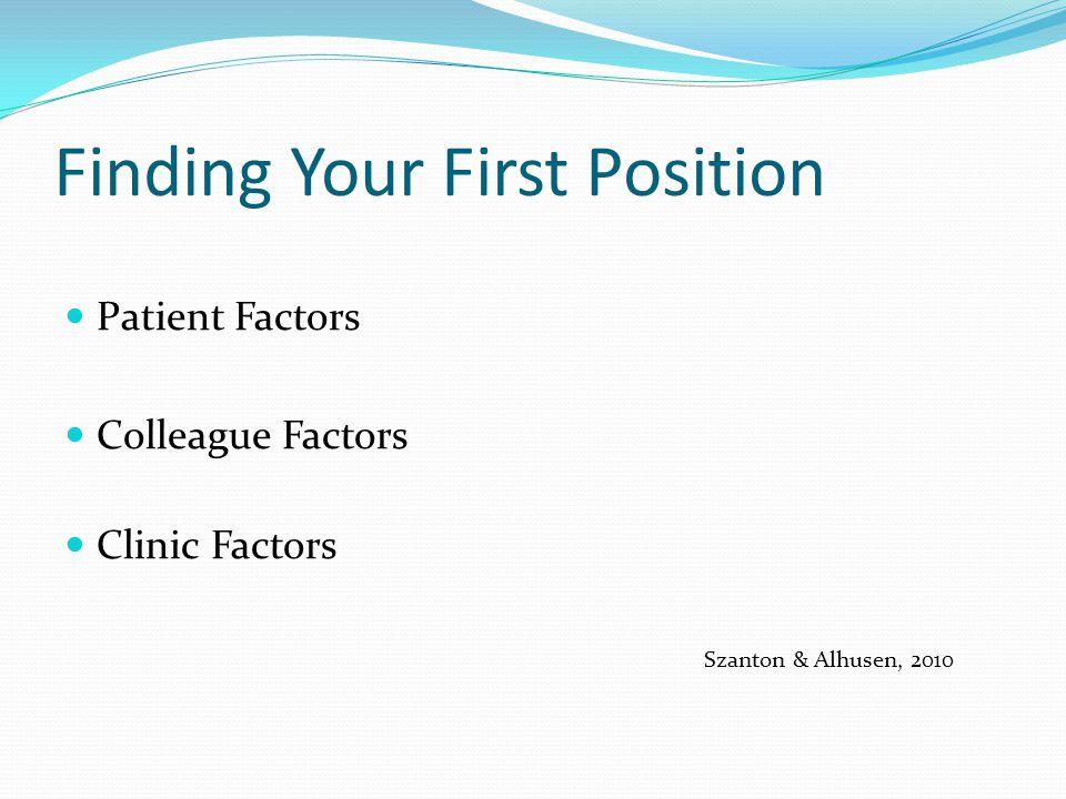 Finding Your First Position Patient Factors Colleague Factors Clinic Factors Szanton & Alhusen, 2010