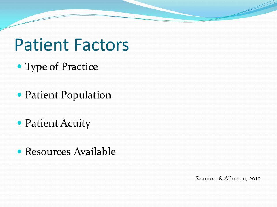 Patient Factors Type of Practice Patient Population Patient Acuity Resources Available Szanton & Alhusen, 2010