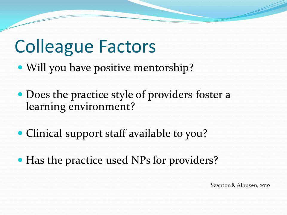 Colleague Factors Will you have positive mentorship.