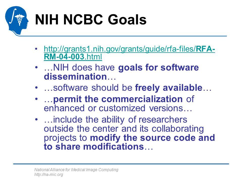 National Alliance for Medical Image Computing http://na-mic.org NIH NCBC Goals http://grants1.nih.gov/grants/guide/rfa-files/RFA- RM-04-003.htmlhttp:/