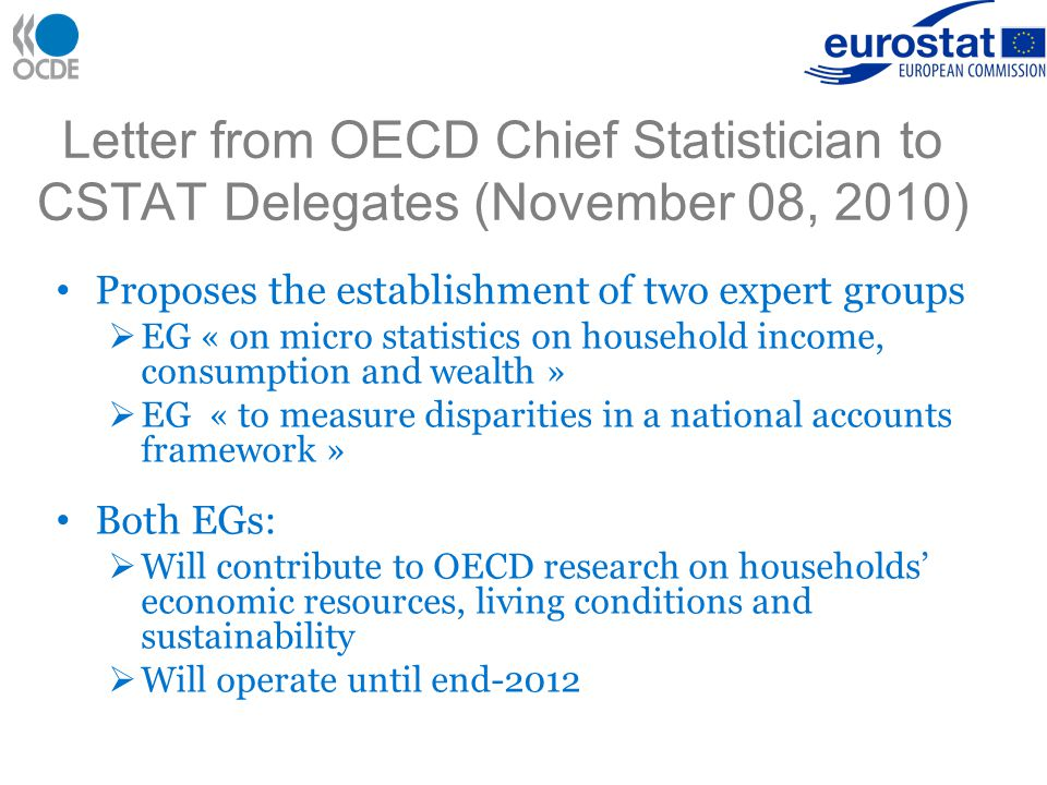 Letter from OECD Chief Statistician to CSTAT Delegates (November 08, 2010) Proposes the establishment of two expert groups  EG « on micro statistics on household income, consumption and wealth »  EG « to measure disparities in a national accounts framework » Both EGs:  Will contribute to OECD research on households' economic resources, living conditions and sustainability  Will operate until end-2012
