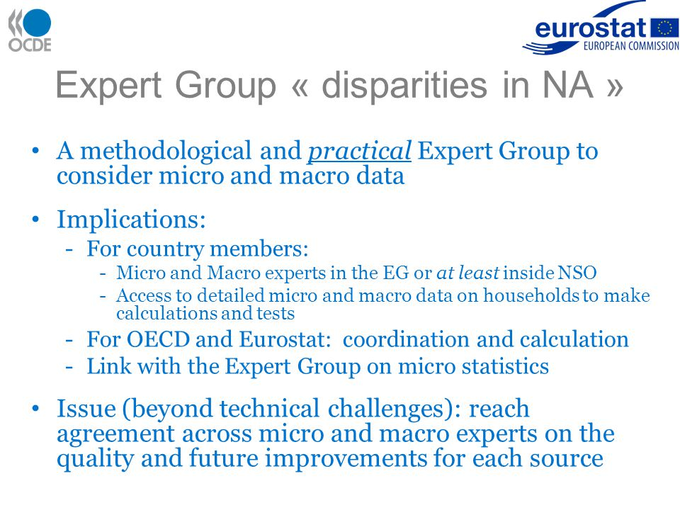 Two Expert Groups on households Reminder: names and coordinates of participating experts should be provided by 17 December 2010 Information meeting on the EG to measure disparities in a NA framework: 3 December, 2 to 4 pm.