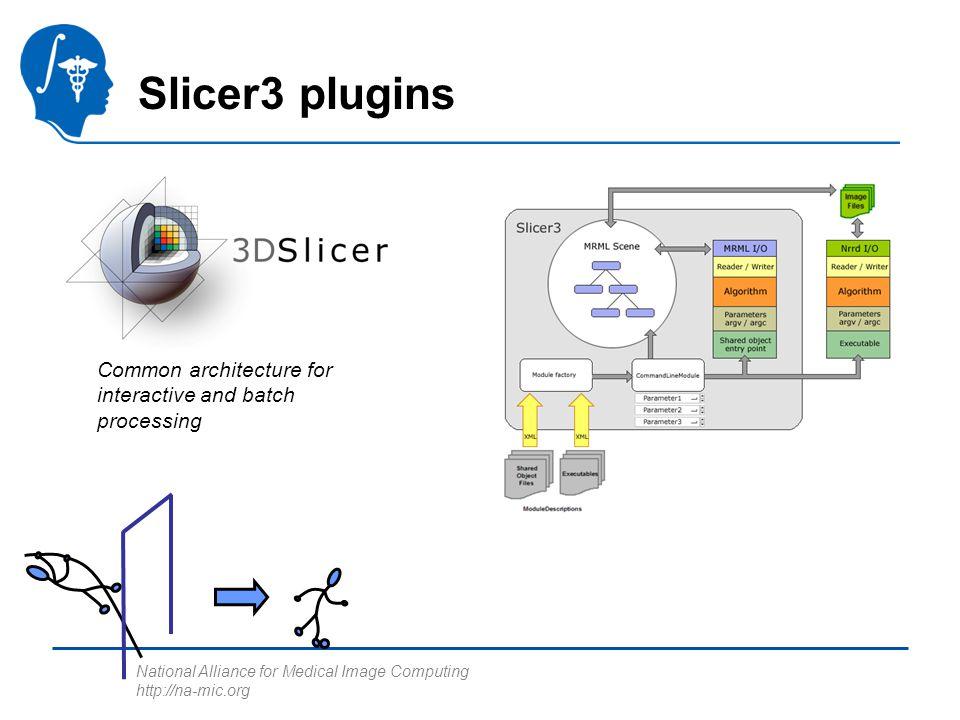 National Alliance for Medical Image Computing http://na-mic.org The grand vision… User Desktop AlgorithmsITKVTK Slicer Modules VTK Apps Using ITK Scripts of Slicer Mods Batch Programs Non-NAMIC Cmd tools BatchMake BIRN Grid Wizard Slicer 3.0