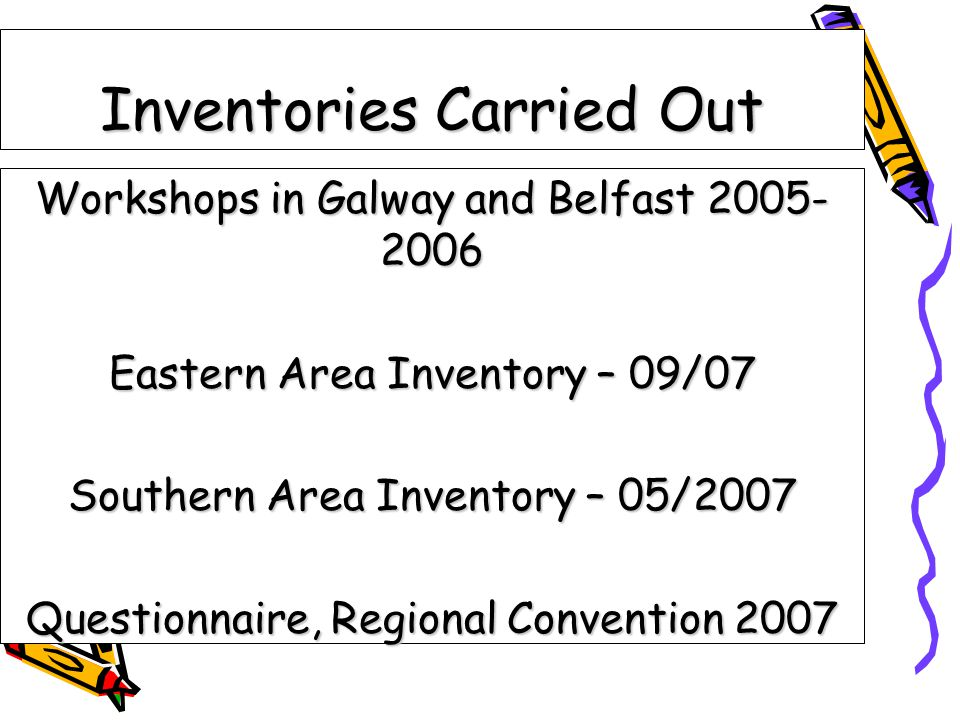 Inventories Carried Out Workshops in Galway and Belfast 2005- 2006 Eastern Area Inventory – 09/07 Southern Area Inventory – 05/2007 Questionnaire, Regional Convention 2007