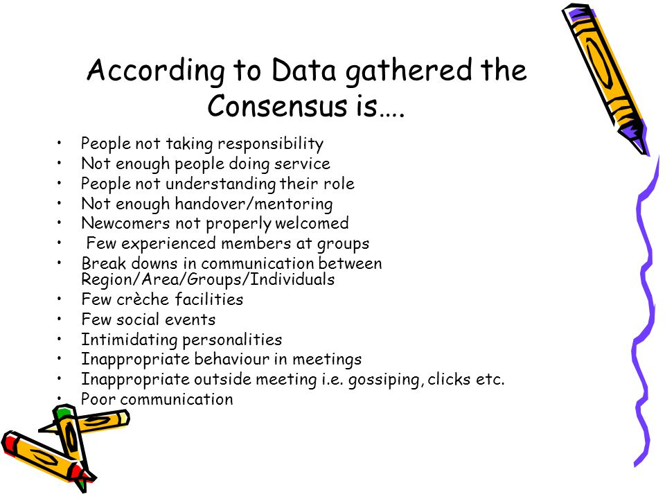 According to Data gathered the Consensus is…. People not taking responsibility Not enough people doing service People not understanding their role Not