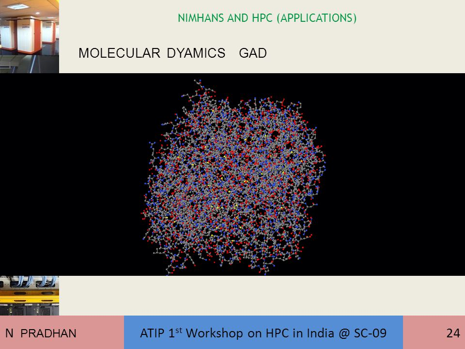 NIMHANS AND HPC (APPLICATIONS) MOLECULAR DYAMICS GAD N PRADHAN ATIP 1 st Workshop on HPC in India @ SC-0924