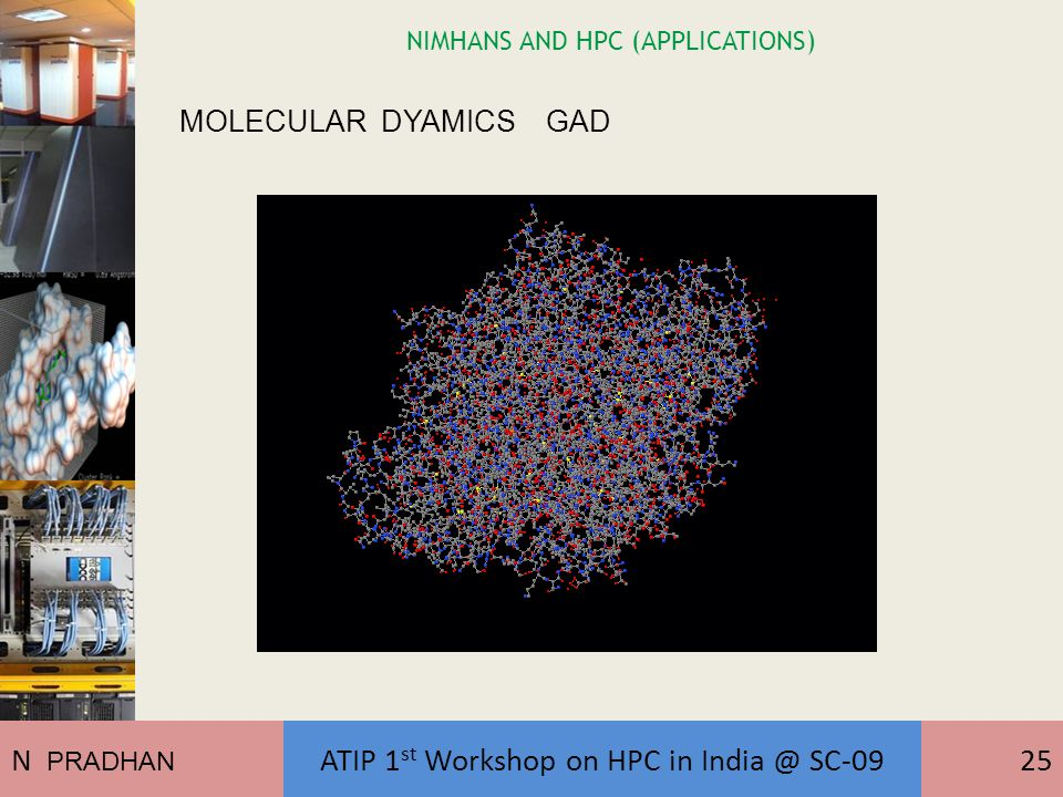 NIMHANS AND HPC (APPLICATIONS) MOLECULAR DYAMICS GAD N PRADHAN ATIP 1 st Workshop on HPC in India @ SC-0925