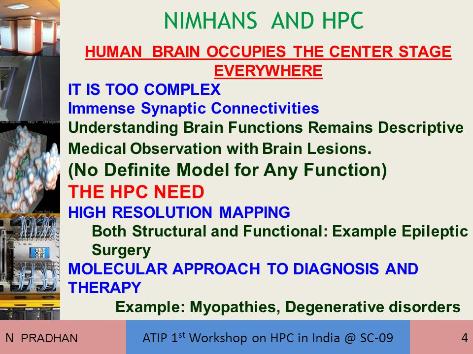 NIMHANS AND HPC HUMAN BRAIN OCCUPIES THE CENTER STAGE EVERYWHERE IT IS TOO COMPLEX Immense Synaptic Connectivities Understanding Brain Functions Remains Descriptive Medical Observation with Brain Lesions.