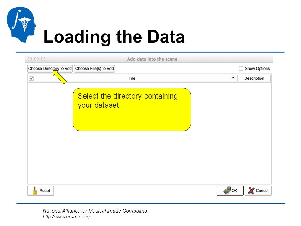 National Alliance for Medical Image Computing http://www.na-mic.org Loading the Data Select the directory containing your dataset