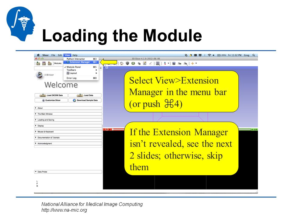 National Alliance for Medical Image Computing http://www.na-mic.org Loading the Module Select View>Extension Manager in the menu bar (or push ⌘ 4) If the Extension Manager isn't revealed, see the next 2 slides; otherwise, skip them