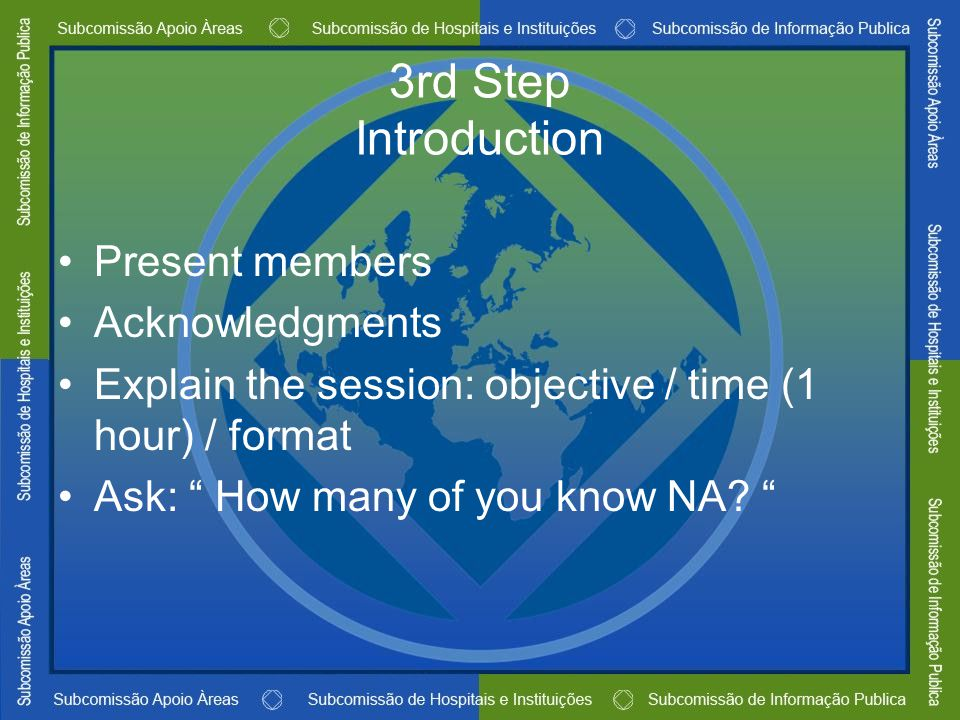 "3rd Step Introduction Present members Acknowledgments Explain the session: objective / time (1 hour) / format Ask: "" How many of you know NA? """