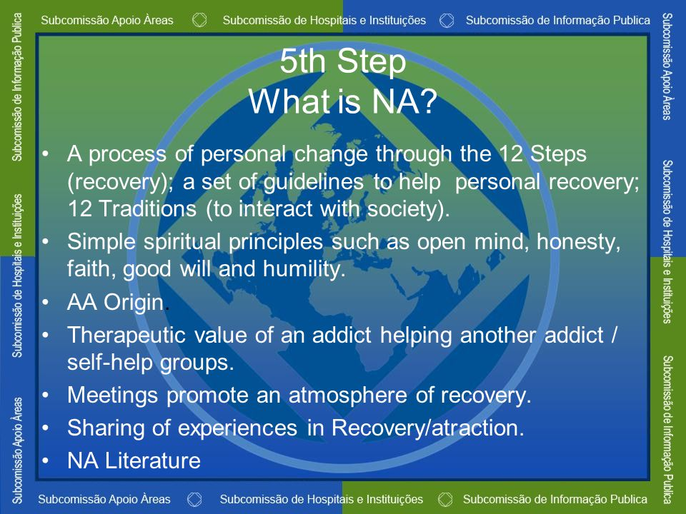 5th Step What is NA? A process of personal change through the 12 Steps (recovery); a set of guidelines to help personal recovery; 12 Traditions (to in