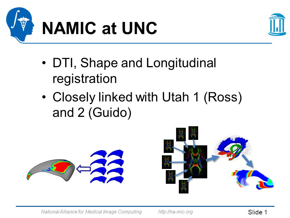 National Alliance for Medical Image Computing http://na-mic.org Slide 1 NAMIC at UNC DTI, Shape and Longitudinal registration Closely linked with Utah