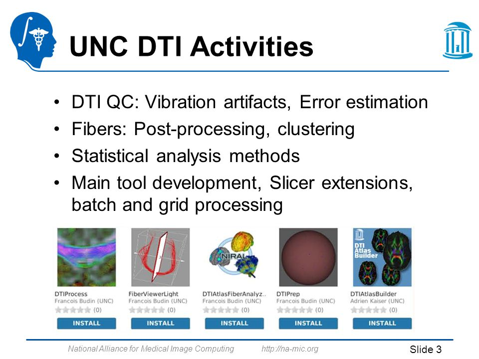 National Alliance for Medical Image Computing http://na-mic.org Slide 3 UNC DTI Activities DTI QC: Vibration artifacts, Error estimation Fibers: Post-processing, clustering Statistical analysis methods Main tool development, Slicer extensions, batch and grid processing