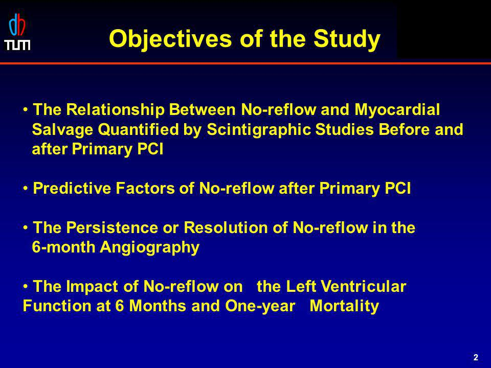 STOPAMI 1 & 2 Objectives of the Study The Relationship Between No-reflow and Myocardial Salvage Quantified by Scintigraphic Studies Before and after Primary PCI Predictive Factors of No-reflow after Primary PCI The Persistence or Resolution of No-reflow in the 6-month Angiography The Impact of No-reflow on the Left Ventricular Function at 6 Months and One-year Mortality 2