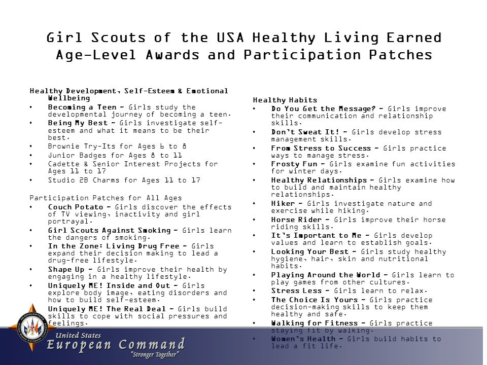 Girl Scouts of the USA Healthy Living Earned Age-Level Awards and Participation Patches Healthy Habits Do You Get the Message.