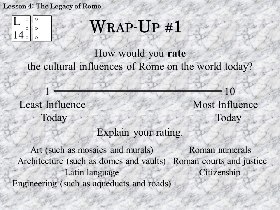 L 14 W RAP- U P # 1 How would you rate the cultural influences of Rome on the world today? 1 10 Least Influence Most Influence TodayToday Explain your