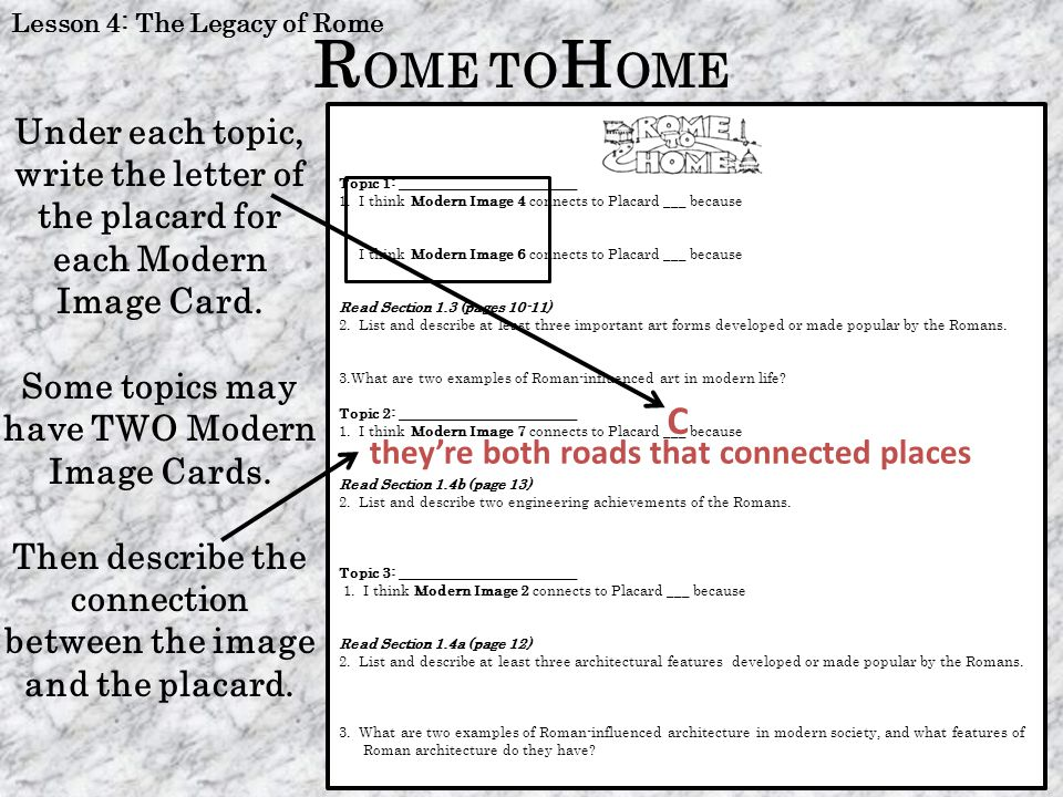 Lesson 4: The Legacy of Rome Topic 4: ______________________________ 1.I think Modern Image 5 connects to Placard ___ because R OME TO H OME Modern Image 5 A both images show Roman numerals.