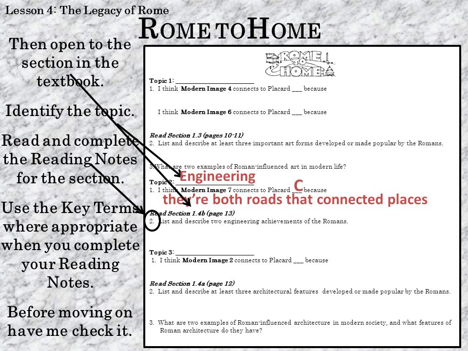R OME TO H OME When you are completely finished with one topic, return the card(s) and continue to another topic.