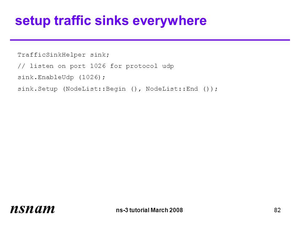 ns-3 tutorial March 200882 setup traffic sinks everywhere TrafficSinkHelper sink; // listen on port 1026 for protocol udp sink.EnableUdp (1026); sink.Setup (NodeList::Begin (), NodeList::End ());