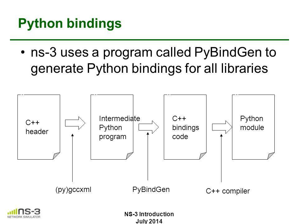 Python bindings ns-3 uses a program called PyBindGen to generate Python bindings for all libraries v C++ header v Intermediate Python program v C++ bi
