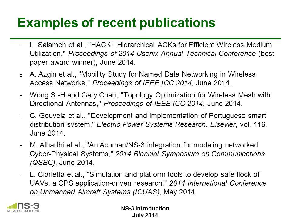 Examples of recent publications L. Salameh et al.,