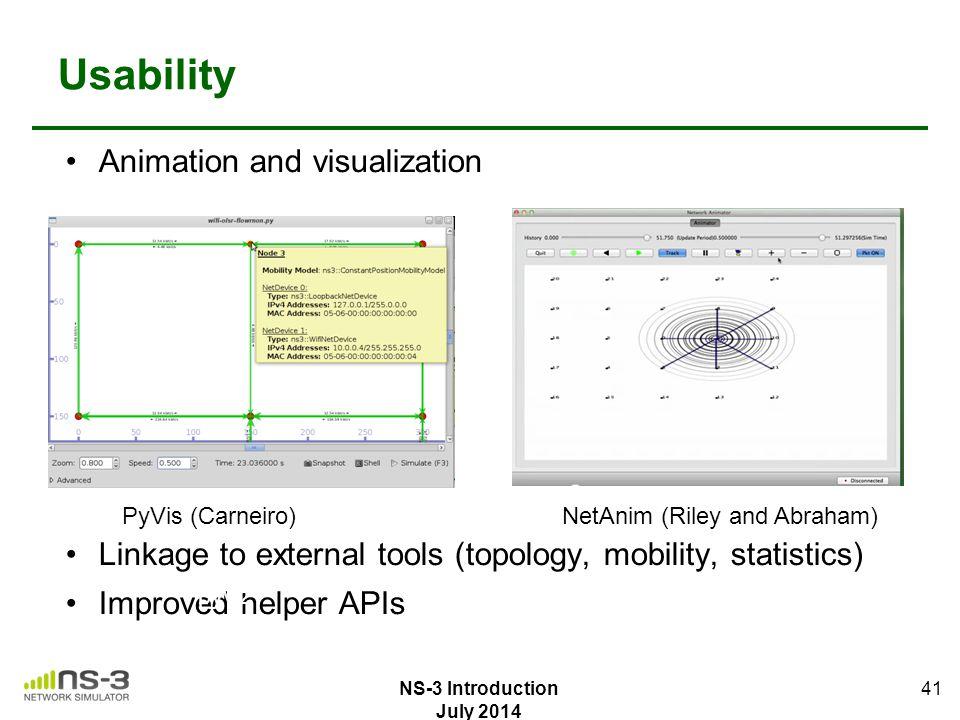 Usability Animation and visualization Linkage to external tools (topology, mobility, statistics) Improved helper APIs 41 pyvizNetAnim PyVis (Carneiro)