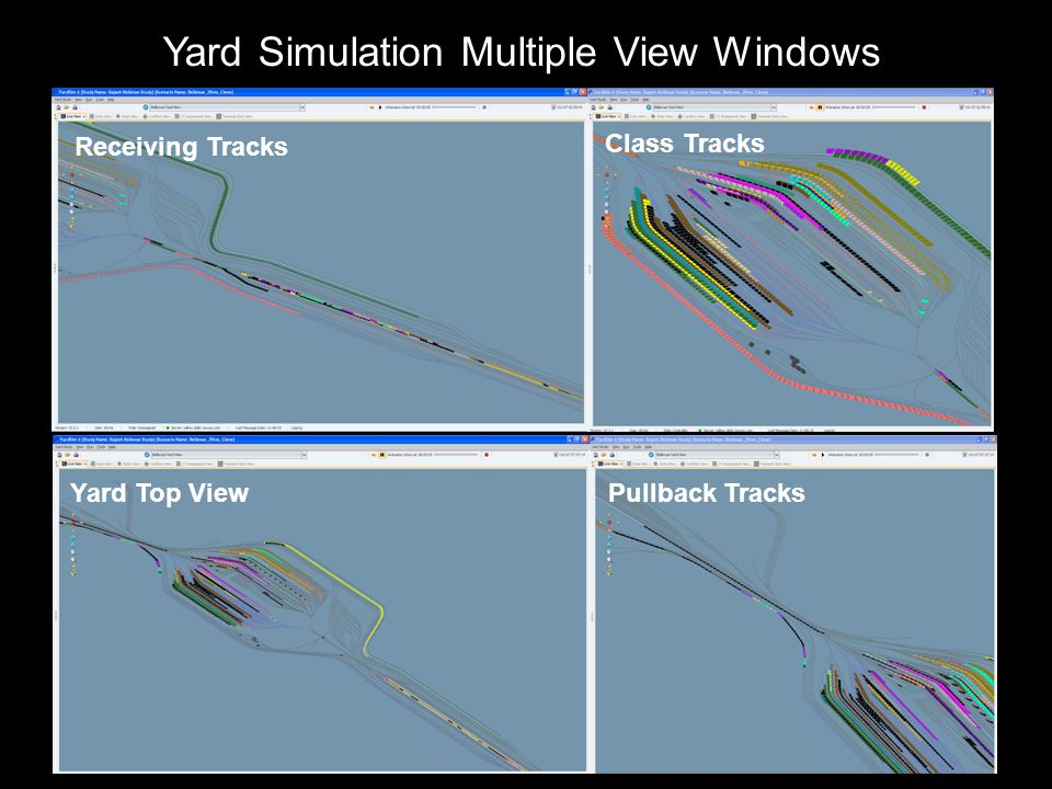 Yard Simulation Multiple View Windows Class Tracks Pullback Tracks Yard Top View Receiving Tracks