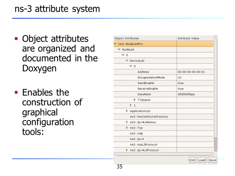 35 ns-3 attribute system  Object attributes are organized and documented in the Doxygen  Enables the construction of graphical configuration tools: