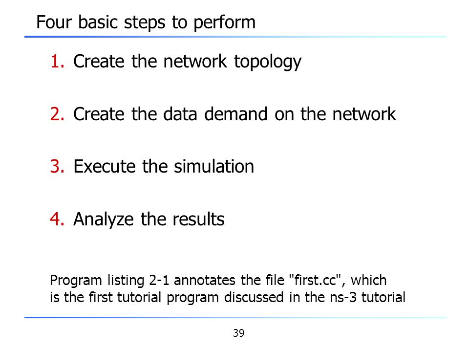 39 Four basic steps to perform 1.Create the network topology 2.Create the data demand on the network 3.Execute the simulation 4.Analyze the results Pr