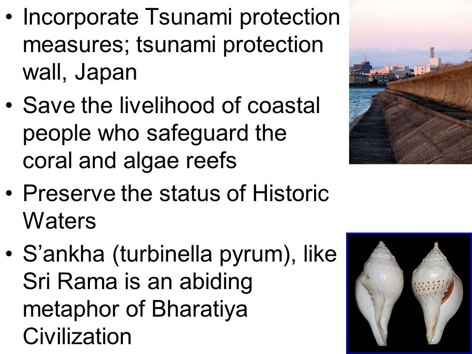 35 Incorporate Tsunami protection measures; tsunami protection wall, Japan Save the livelihood of coastal people who safeguard the coral and algae reefs Preserve the status of Historic Waters S'ankha (turbinella pyrum), like Sri Rama is an abiding metaphor of Bharatiya Civilization