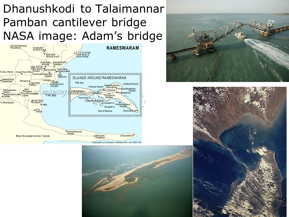 8 Dhanushkodi to Talaimannar Pamban cantilever bridge NASA image: Adam's bridge