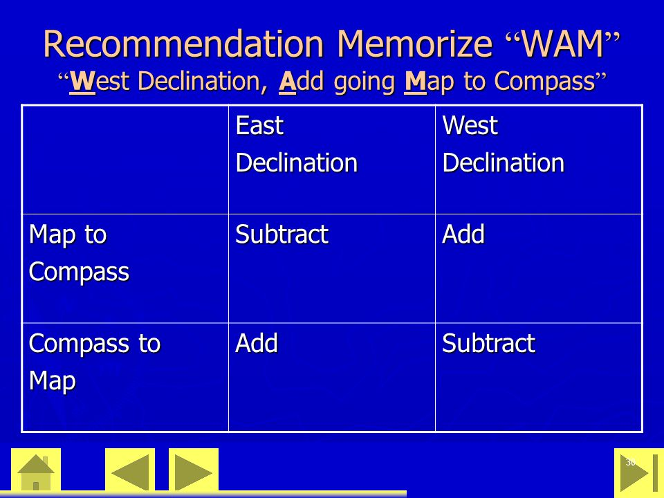 "0 23 46 30 Recommendation Memorize "" WAM "" "" West Declination, Add going Map to Compass "" EastDeclinationWestDeclination Map to CompassSubtractAdd Com"