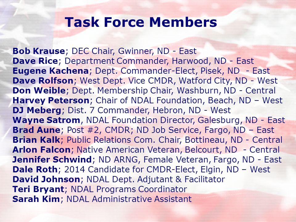 Bob Krause; DEC Chair, Gwinner, ND - East Dave Rice; Department Commander, Harwood, ND - East Eugene Kachena; Dept. Commander-Elect, Pisek, ND - East