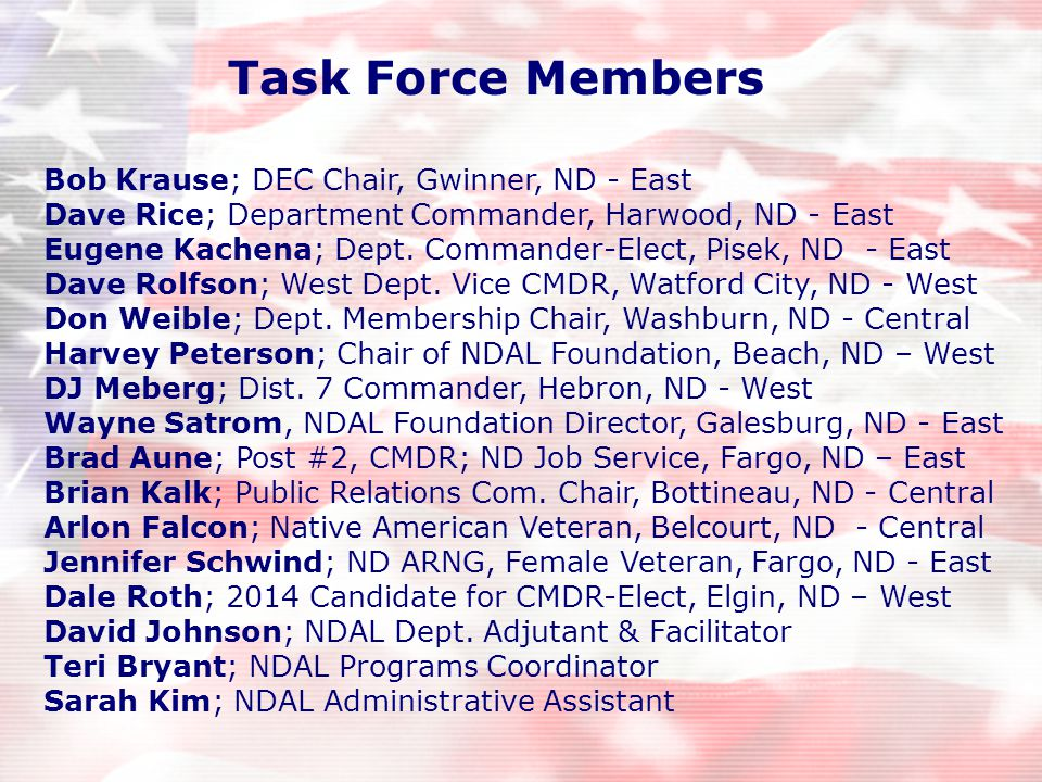 Bob Krause; DEC Chair, Gwinner, ND - East Dave Rice; Department Commander, Harwood, ND - East Eugene Kachena; Dept.