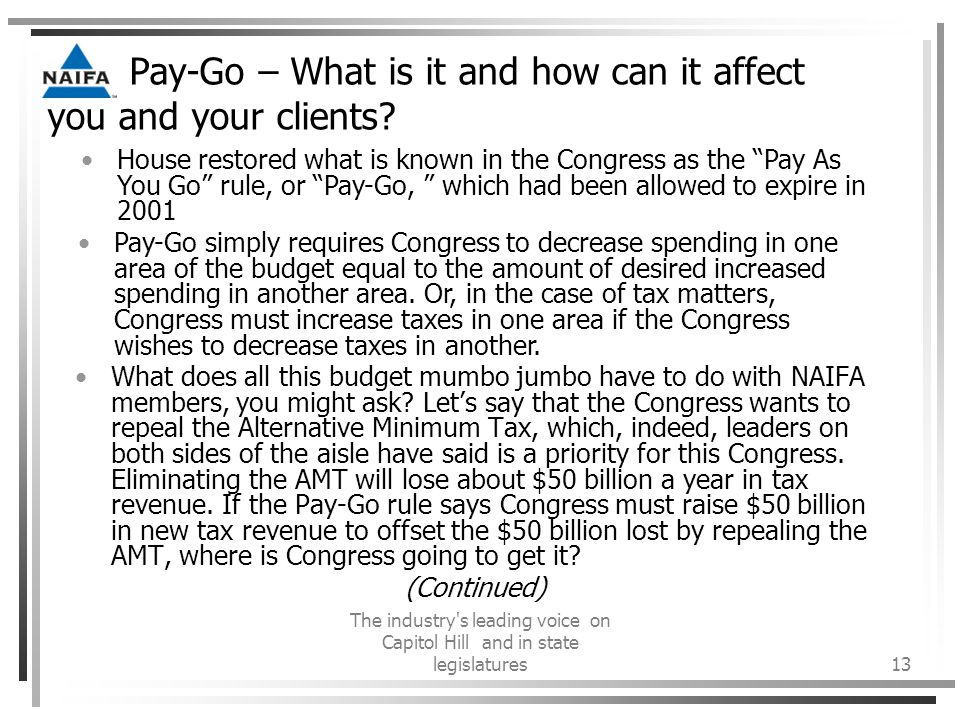 The industry s leading voice on Capitol Hill and in state legislatures13 Pay-Go – What is it and how can it affect you and your clients.
