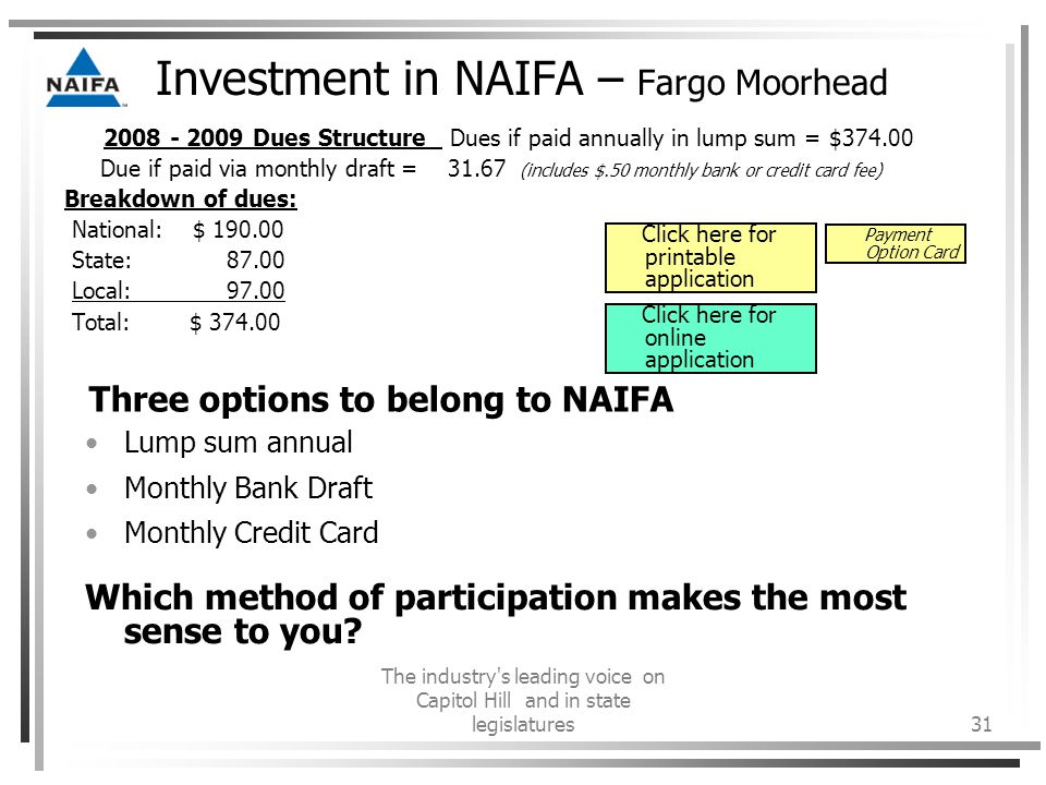 The industry s leading voice on Capitol Hill and in state legislatures31 Investment in NAIFA – Fargo Moorhead 2008 - 2009 Dues Structure Dues if paid annually in lump sum = $374.00 Due if paid via monthly draft = 31.67 (includes $.50 monthly bank or credit card fee) Breakdown of dues: National: $ 190.00 State: 87.00 Local: 97.00 Total: $ 374.00 Three options to belong to NAIFA Lump sum annual Monthly Bank Draft Monthly Credit Card Which method of participation makes the most sense to you.
