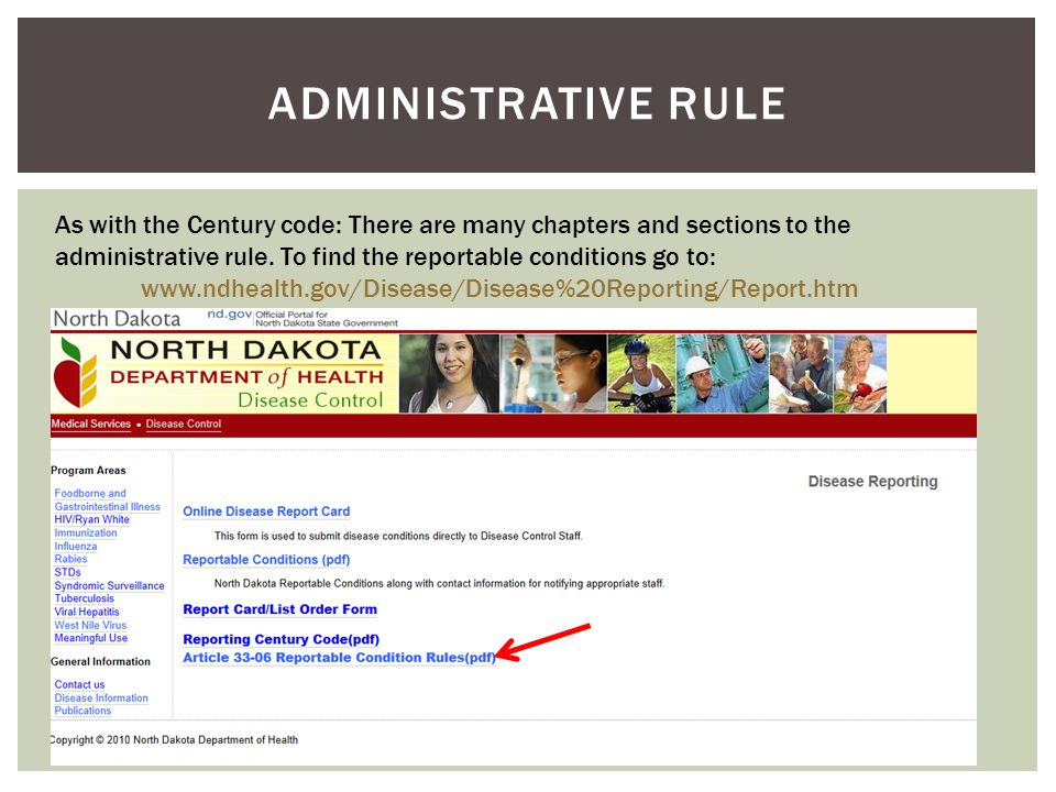 ADMINISTRATIVE RULE As with the Century code: There are many chapters and sections to the administrative rule.