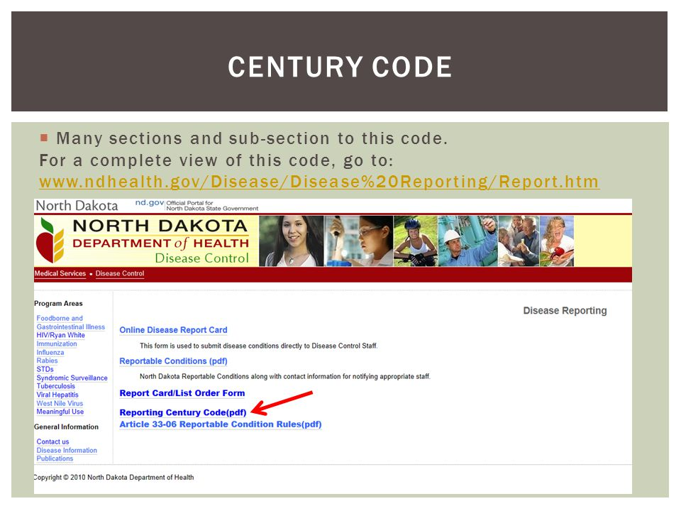  For a complete view of the century code, go to: www.legis.nd.gov/cencode/t23.html