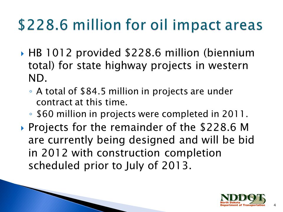  HB 1012 provided $228.6 million (biennium total) for state highway projects in western ND.