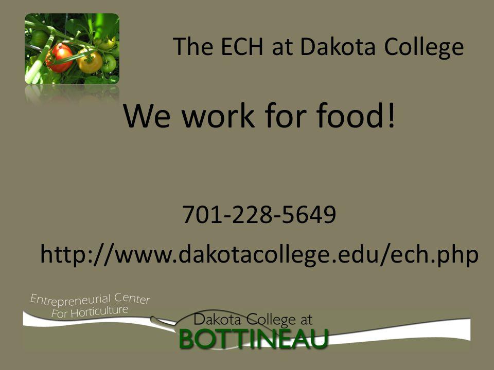 The ECH at Dakota College We work for food! 701-228-5649 http://www.dakotacollege.edu/ech.php