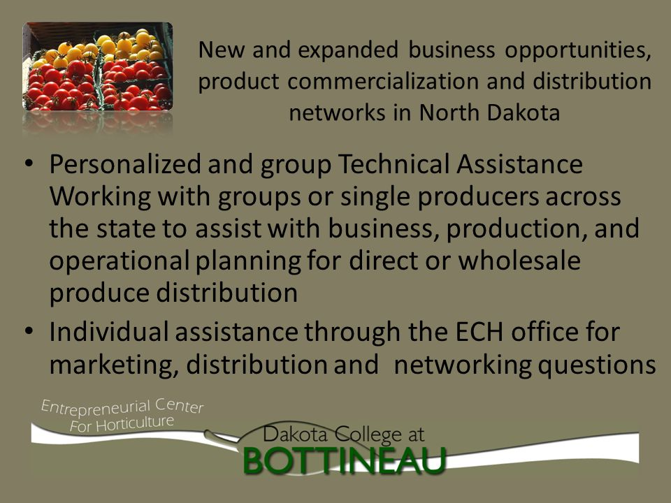 New and expanded business opportunities, product commercialization and distribution networks in North Dakota Personalized and group Technical Assistance Working with groups or single producers across the state to assist with business, production, and operational planning for direct or wholesale produce distribution Individual assistance through the ECH office for marketing, distribution and networking questions