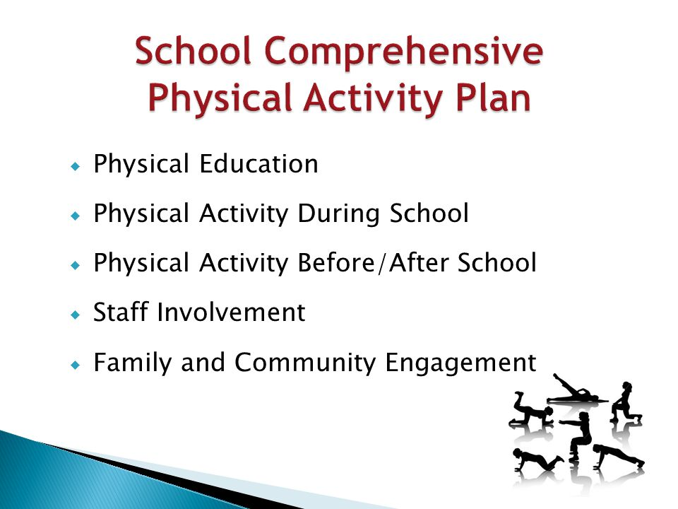  Physical Education  Physical Activity During School  Physical Activity Before/After School  Staff Involvement  Family and Community Engagement