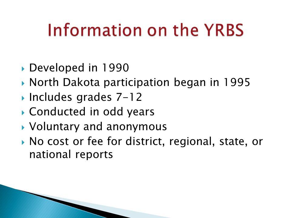  DPI Youth Risk Behavior Survey www.dpi.state.nd.us/health/YRBS/index.shtm  CDC Youth Risk Behavior Survey www.cdc.gov/HealthyYouth/yrbs/index.htm  CDC Health & Academics Data & Statistics www.cdc.gov/healthyyouth/health_and_acade mics/data.htm  CDC Adult Obesity Facts www.cdc.gov/obesity/data/adult.html